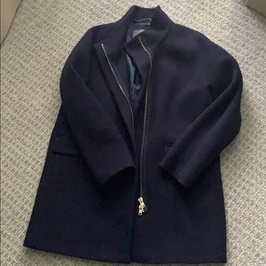 J crew navy stadium cocoon coat with zipper